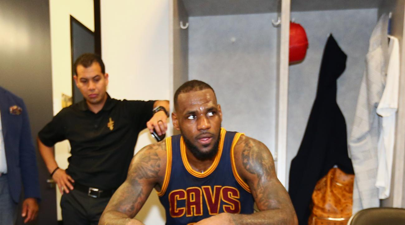 OAKLAND, CA - JUNE 7: LeBron James #23 of the Cleveland Cavaliers in the locker room after winning Game Two of the 2015 NBA Finals on June 7, 2015 at Oracle Arena in Oakland, California. (Photo by Nathaniel S. Butler/NBAE via Getty Images)