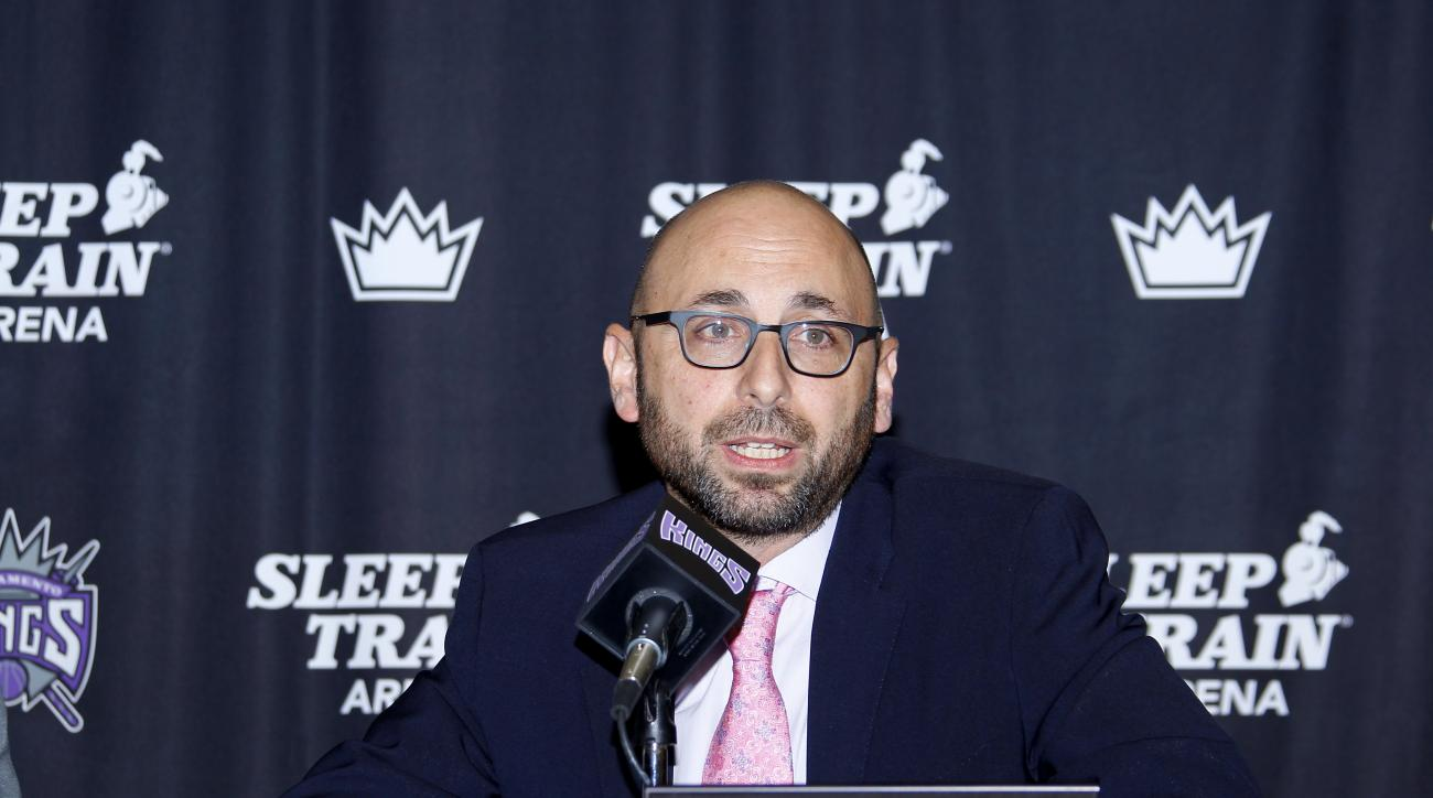 SACRAMENTO, CA - NOVEMBER 19:  Pete D'Alessandro addresses the media at a press conference to announce the signing of a contract extension to Rudy Gay with the Sacramento Kings on November 19, 2014 at the Kings Practice Facility in Sacramento, California.