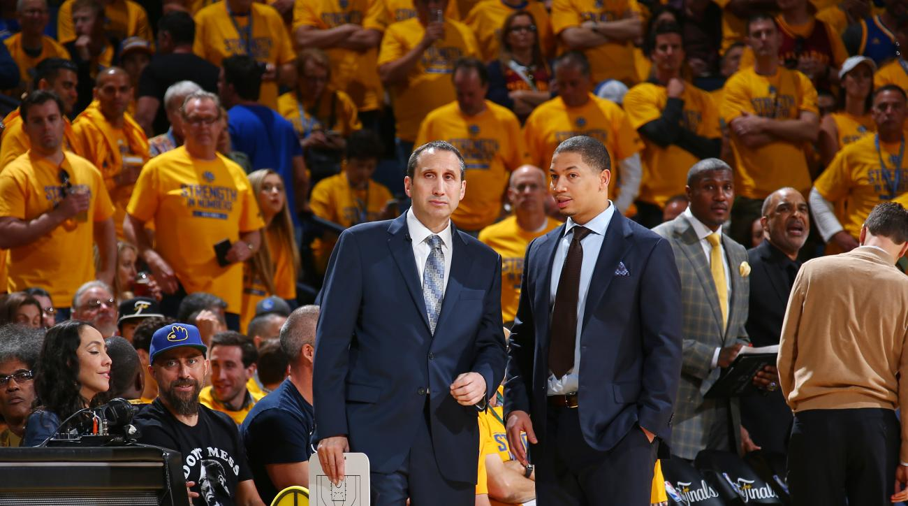 OAKLAND, CA - JUNE 14: Head Coach David Blatt of the Cleveland Cavaliers and Assistant Coach Tyronn Lue of the Cleveland Cavaliers together during Game Five of the 2015 NBA Finals on June 14, 2015 at Oracle Arena in Oakland, California. (Photo by Nathanie