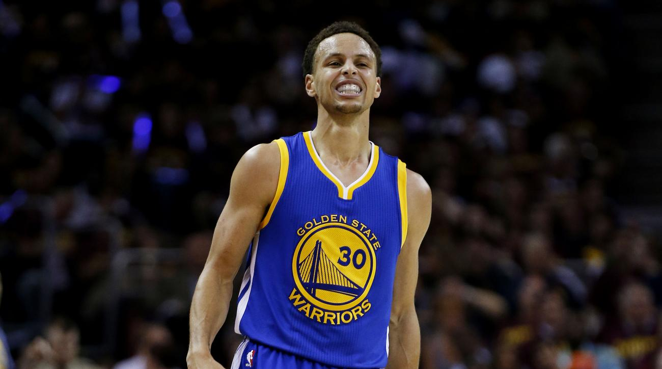 CLEVELAND, OH - JUNE 16:  Stephen Curry #30 of the Golden State Warriors reacts in the first quarter against the Cleveland Cavaliers during Game Six of the 2015 NBA Finals at Quicken Loans Arena on June 16, 2015 in Cleveland, Ohio. (Photo by Ezra Shaw/Get