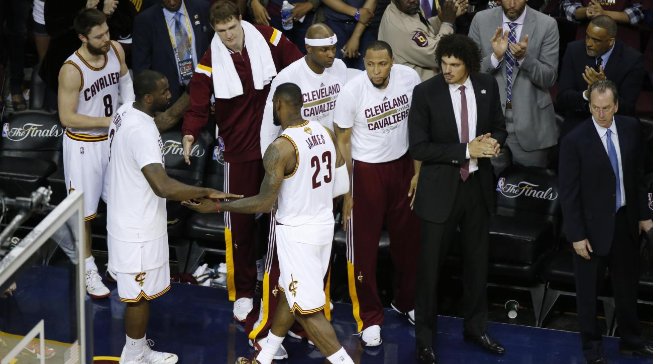 CLEVELAND, OH - JUNE 16: LeBron James #23 of the Cleveland Cavaliers walks off court after the loss against the Golden State Warriors for Game Six of the 2015 NBA Finals at the Quicken Loans Arena on June 16, 2015 in Cleveland, Ohio (Photo by Gregory Sham