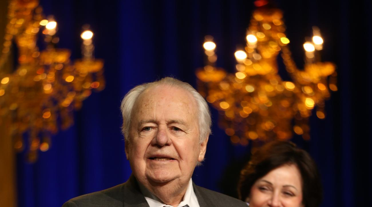 NEW ORLEANS, LA - FEBRUARY 12:  New Orleans Pelicans owners Mr. and Mrs. Tom Benson tip-off the NBA All-Star Weekend with a press event on February 12, 2014 at the Contemporary Arts Center in New Orleans.  The Bensons along with Mark Romig, President & CE