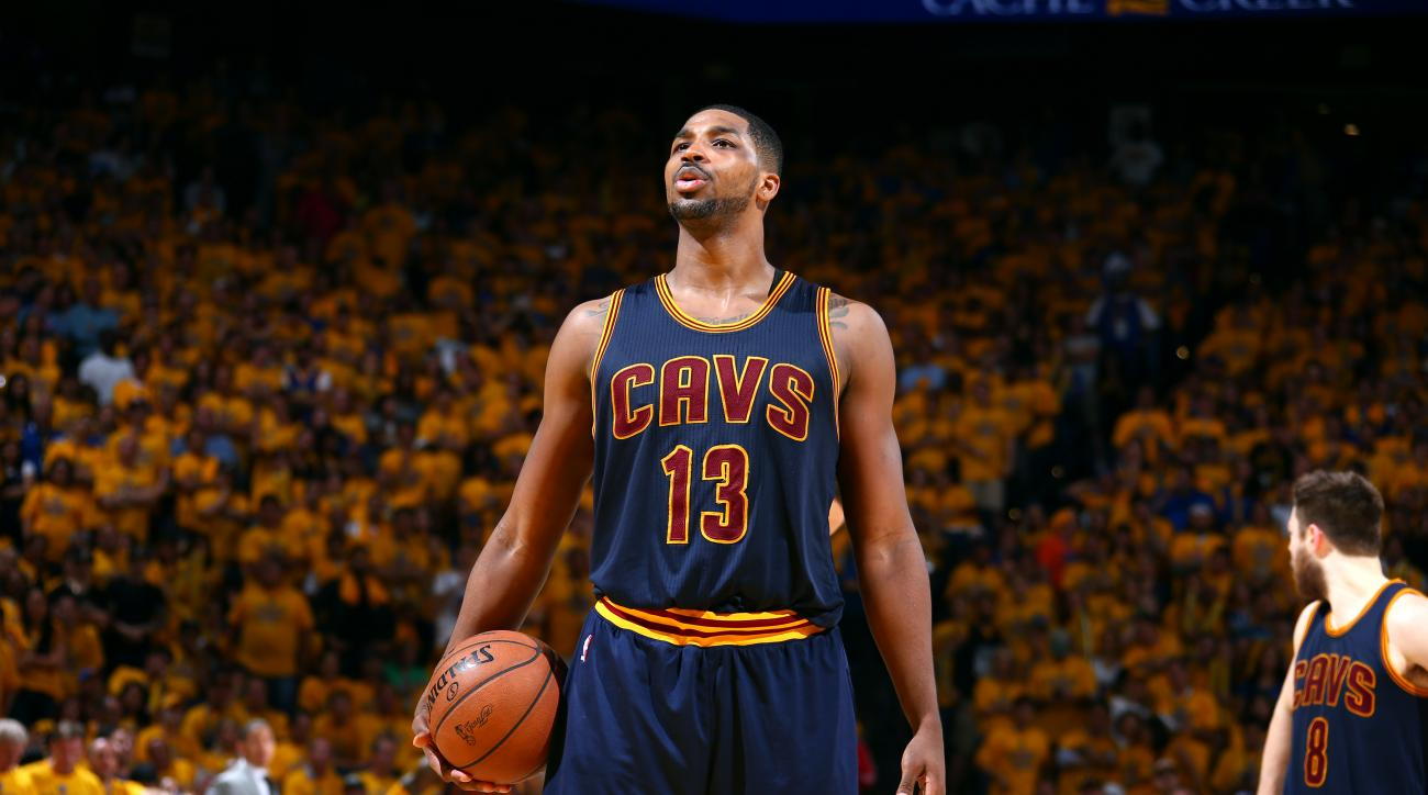 OAKLAND, CA - JUNE 7: Tristan Thompson #13 of the Cleveland Cavaliers prepares to shoot a free throw against the Golden State Warriors during Game Two of the 2015 NBA Finals on June 7, 2015 at Oracle Arena in Oakland, California. (Photo by Nathaniel S. Bu