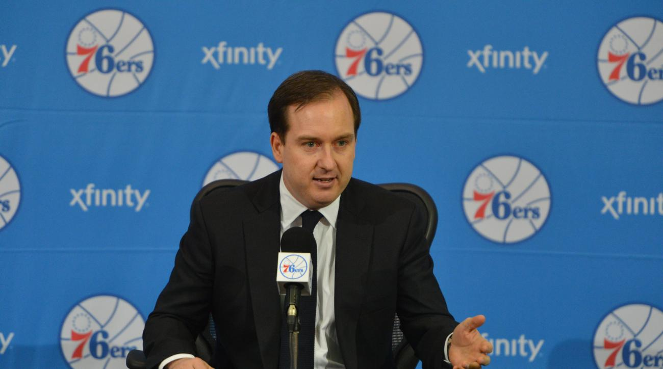 PHILADELPHIA, PA - JUNE 27: Sam Hinkie, President of Basketball Operations and General Manager of the Philadelphia 76ers, speaks with the media during a press conference on June 27, 2014 at the Philadelphia College of Osteopathic Medicine in Philadelphia,