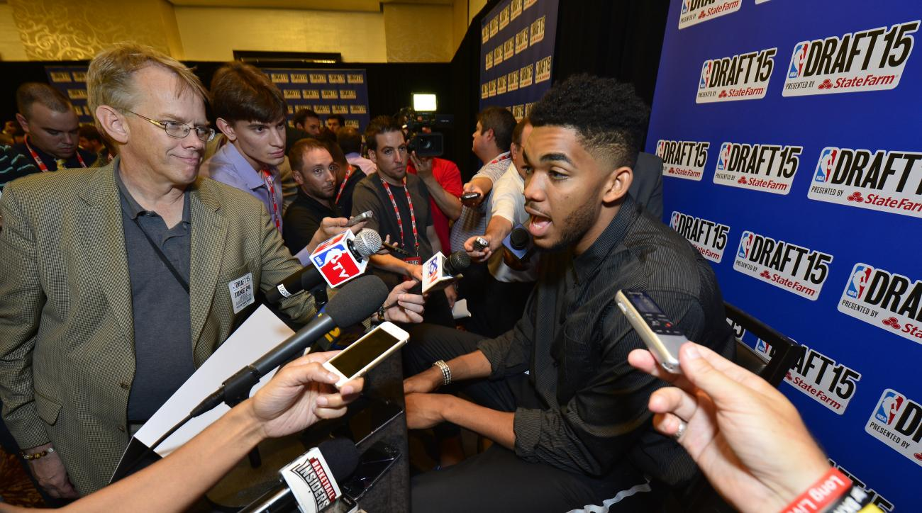 NEW YORK - JUNE 24: NBA Draft Prospect, Karl Anthony Towns speaks to the media during media availability as part of the 2015 NBA Draft on June 24, 2015 at the Westin Times Square in New York City. (Photo by David Dow/NBAE via Getty Images)