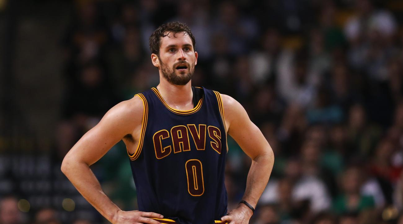 FILE - JUNE 24:  According to reports June 24, 2015, Kevin Love will opt out of the last year of his contract With the Cleveland Cavaliers and enter free agency. BOSTON, MA - APRIL 23:  Kevin Love #0 of the Cleveland Cavaliers looks on during the first qu