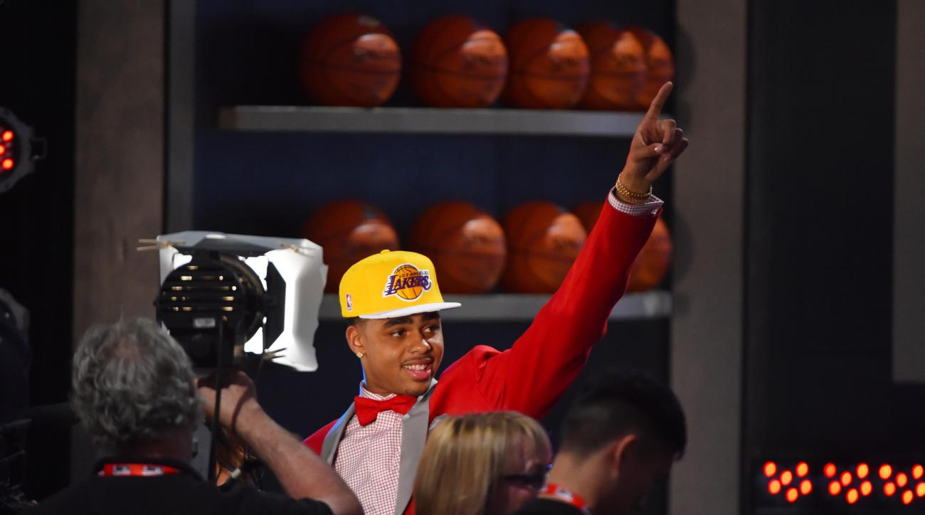 BROOKLYN, NY - JUNE 25:  D'Angelo Russell the #2 pick overall in the 2015 NBA Draft by the Los Angeles Lakers during the 2015 NBA Draft at the Barclays Center on June 25, 2015 in the Brooklyn borough of New York City. (Photo by Jesse D. Garrabrant/NBAE vi