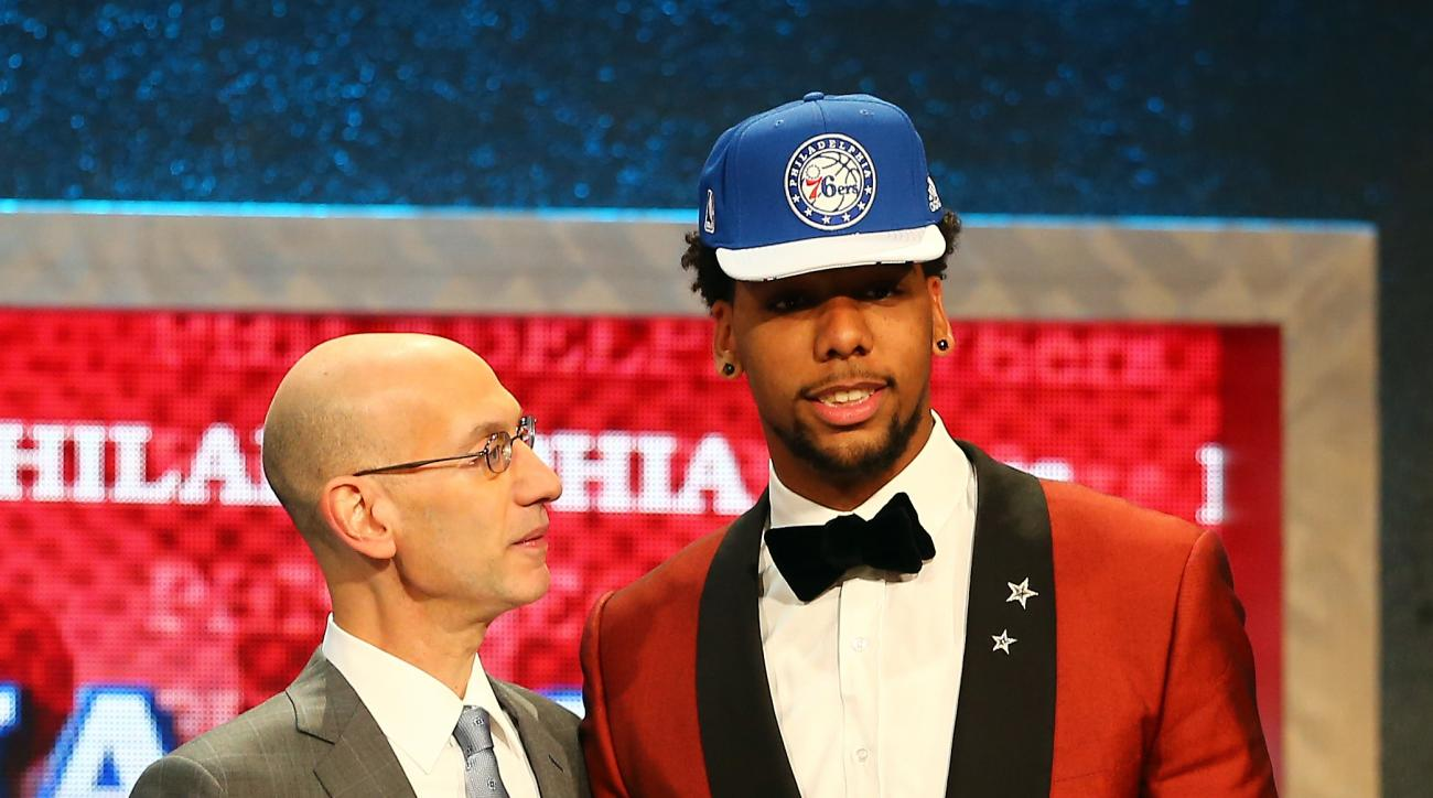 NEW YORK, NY - JUNE 25:  Jahlil Okafor meets with Commissioner Adam Silver after being selected third overall by the Philadelphia 76ers in the First Round of the 2015 NBA Draft at the Barclays Center on June 25, 2015 in the Brooklyn borough of  New York C