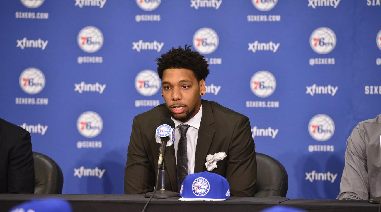 PHILADELPHIA, PA - JUNE 27: Jahlil Okafor attends a press conference after being selected by the Philadelphia 76ers in the 2015 NBA draft on June 27, 2015 at the Wells Fargo Center in Philadelphia, PA. (Photo by David Dow/NBAE via Getty Images)
