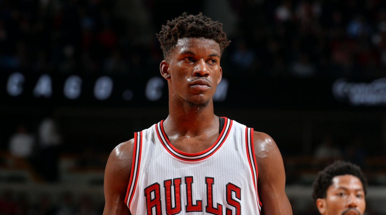 CHICAGO, IL - MAY 14: Jimmy Butler #21 of the Chicago Bulls stands on the court during a game against the Cleveland Cavaliers in Game Six of the Eastern Conference Semifinals during the 2015 NBA Playoffs on May 14, 2015 at the United Center in Chicago,Ill