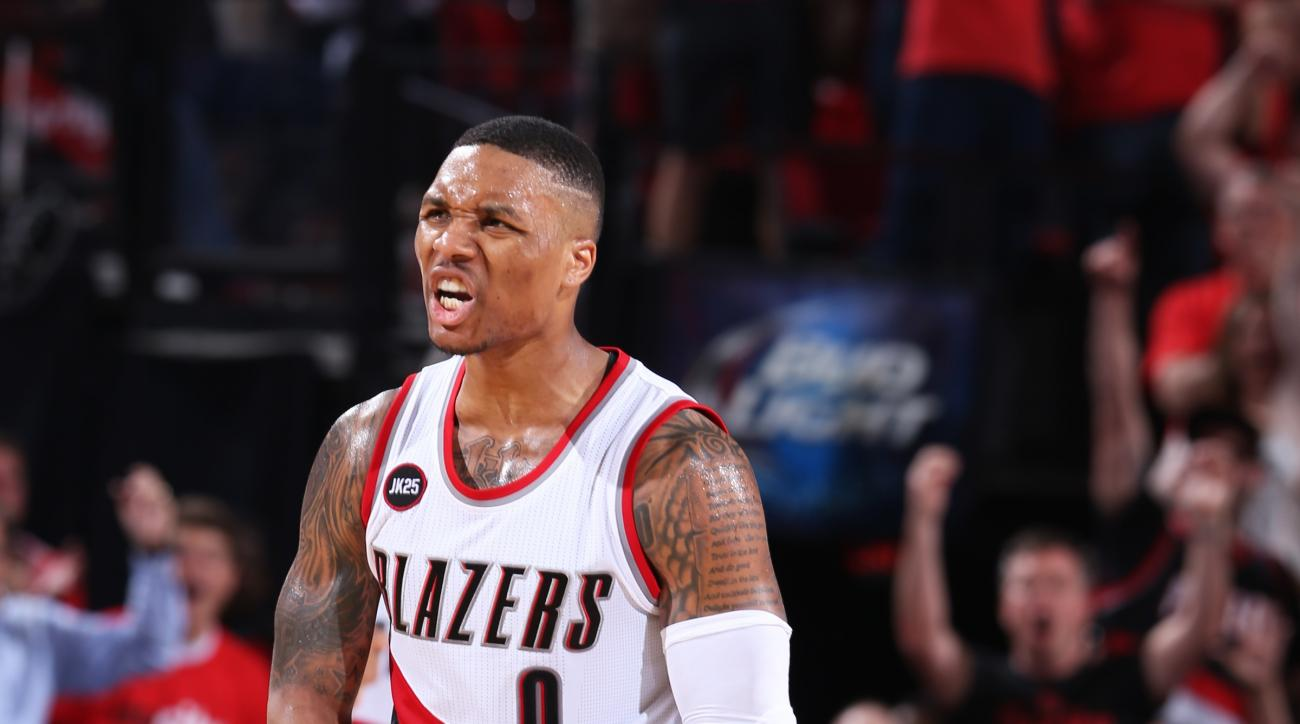 PORTLAND, OR - APRIL 27: Damian Lillard #0 of the Portland Trail Blazers during the game against the Memphis Grizzlies in Game Four of the Western Conference Quarterfinals during the 2015 NBA Playoffs on April 27, 2015 at the Moda Center in Portland, Oreg