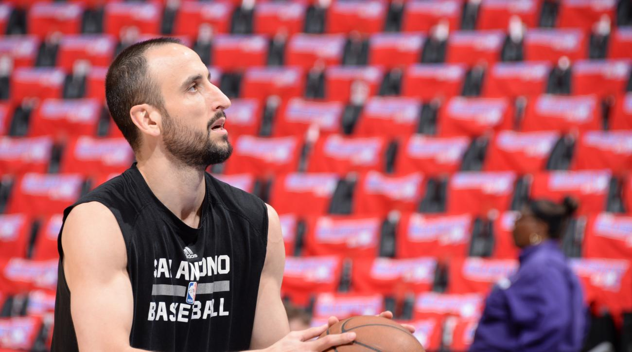 LOS ANGELES, CA - May 2:  Manu Ginobili #20 of the San Antonio Spurs warms up before Game Seven of the Western Conference Quarterfinals against the Los Angeles Clippers during the 2015 NBA Playoffs on May 2, 2015 at Staples Center in Los Angeles, Californ