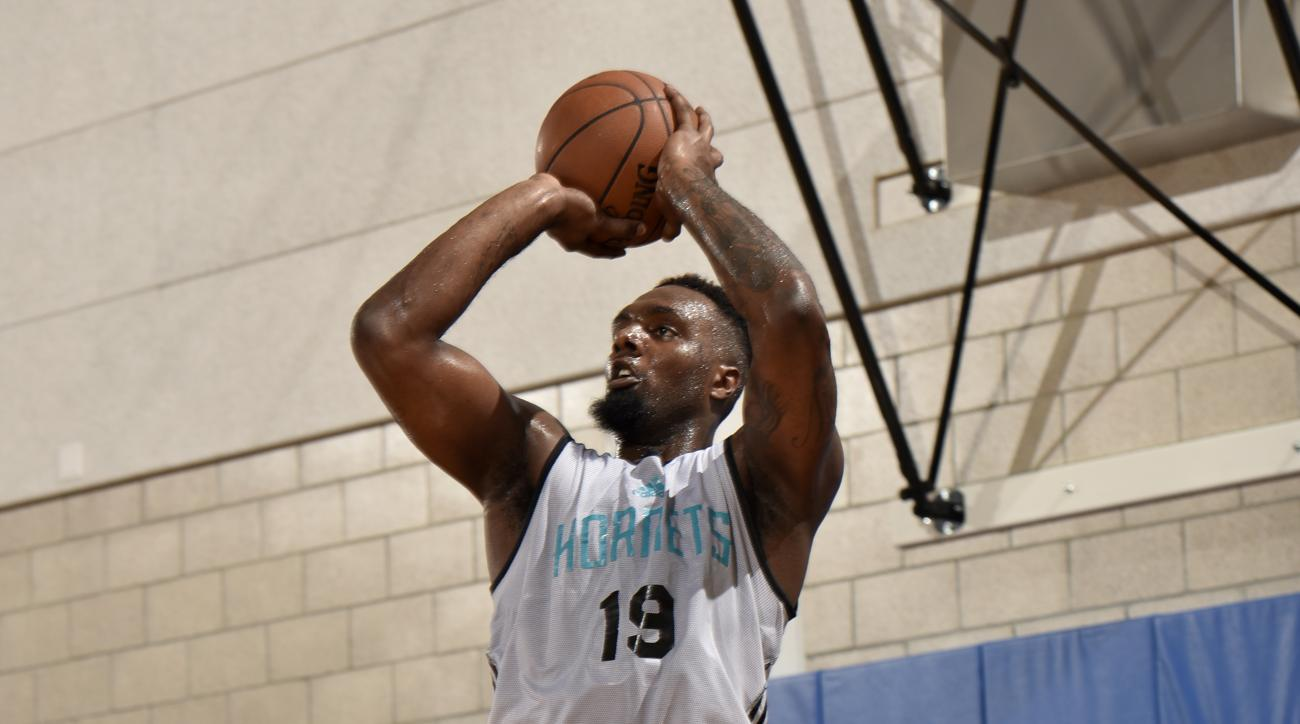 ORLANDO, FL - JULY 8: PJ Hairston #19 of the Charlotte Hornets shoots the ball against the Orlando Magic on July 8, 2015 at Amway Center in Orlando, Florida. (Photo by Fernando Medina/NBAE via Getty Images)