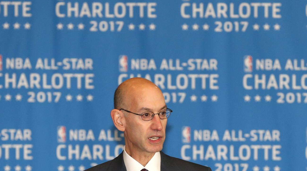 CHARLOTTE, NC - JUNE 23: NBA Commissioner Adam Silver speaks to the media as Charlotte Hornets announce the 2017 All-Star game at the Time Warner Cable Arena on June 23, 2015 in Charlotte, North Carolina. (Photo by Joe Murphy/NBAE via Getty Images)