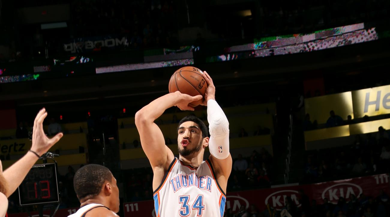 OKLAHOMA CITY, OK- APRIL 13: Enes Kanter #34 of the Oklahoma City Thunder shoots against the Portland Trail Blazers on April 13, 2015 at Chesapeake Energy Arena in Oklahoma City, Oklahoma. (Photo by Layne Murdoch/NBAE via Getty Images)