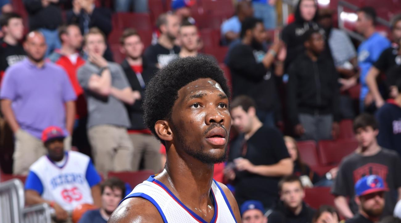 PHILADELPHIA,PA - APRIL 15: Joel Embiid #21 of the Philadelphia 76ers warms-up prior to the game against the Miami Heat at Wells Fargo Center on April 15, 2015 in Philadelphia, Pennsylvania (Photo by Jesse D. Garrabrant/NBAE via Getty Images)