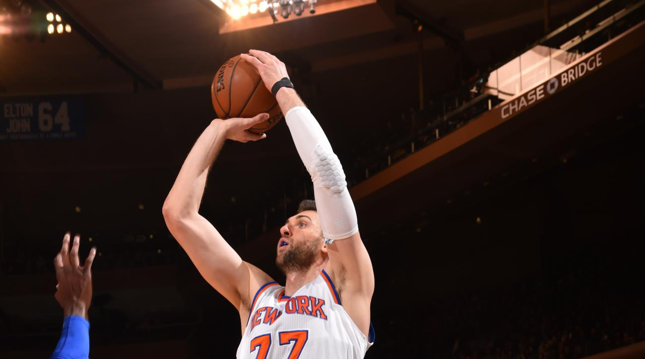 NEW YORK,NY - APRIL 5: Andrea Bargnani #77 of the New York Knicks shoots the ball against the Philadelphia 76ers at Madison Square Garden on April 5, 2015 in New York, New York (Photo by Jesse D. Garrabrant/NBAE via Getty Images)