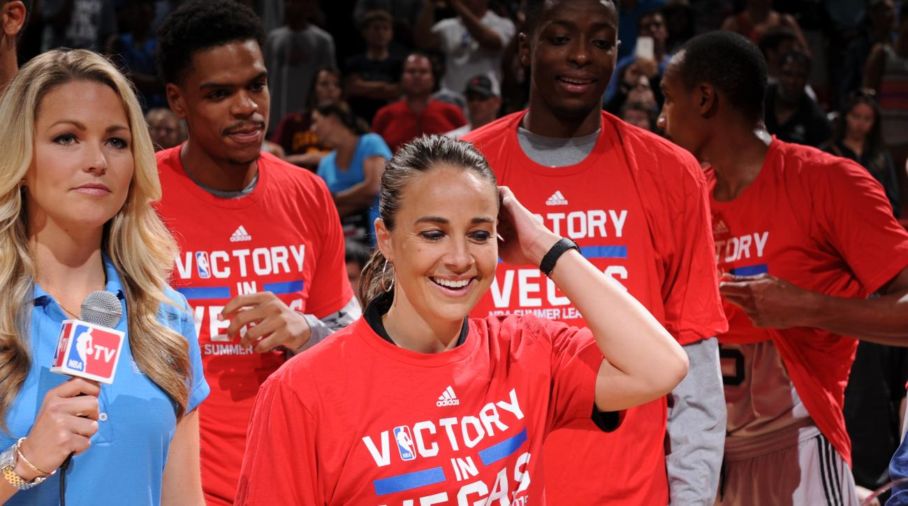 LAS VEGAS, NV - JULY 20:  Head Coach Becky Hammon of the San Antonio Spurs celebrates winning the Las Vegas Summer League Championship against the Phoenix Suns on July 20, 2015 at the Thomas & Mack Center in Las Vegas, Nevada. (Photo by Garrett Ellwood/NB