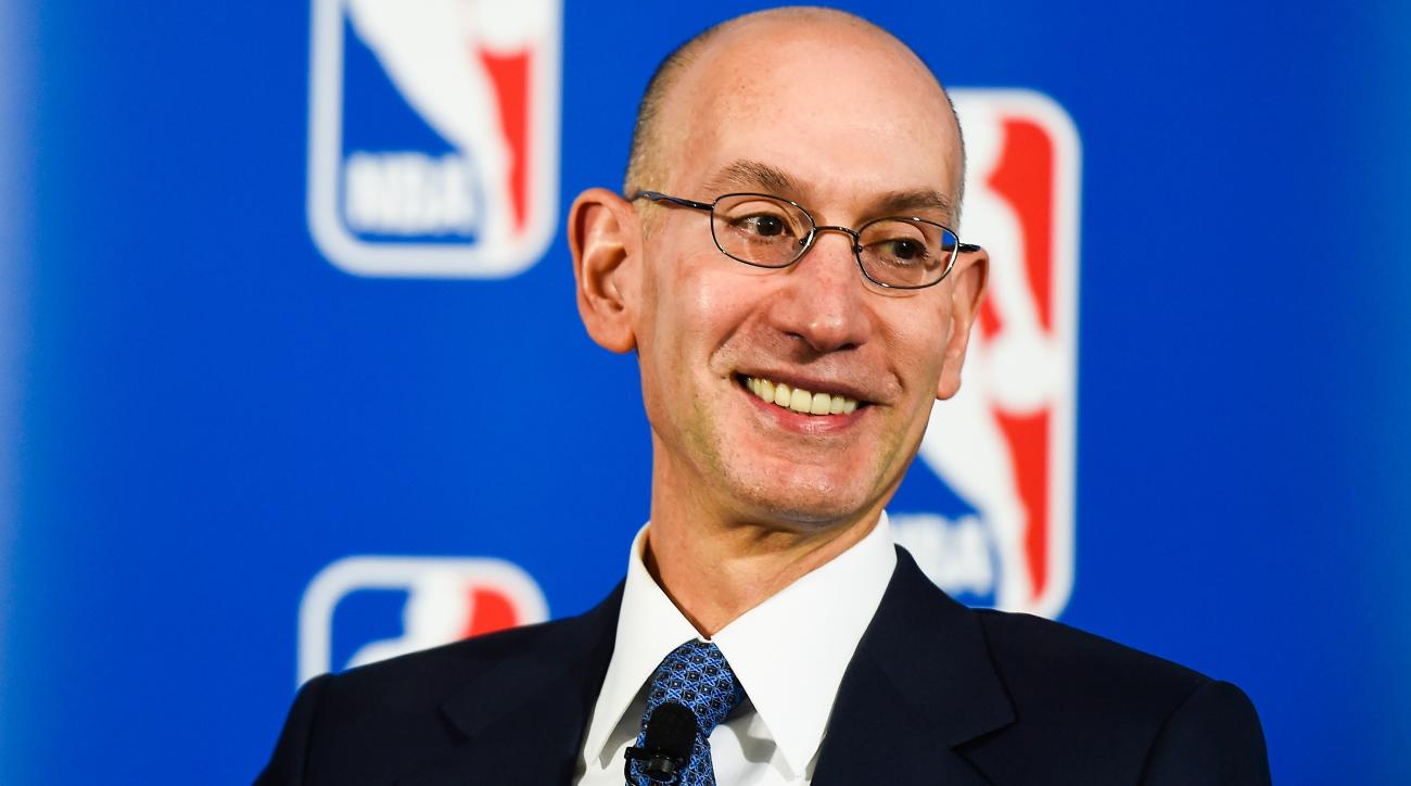 NEW YORK, NY - APRIL 13:  NBA Commissioner Adam Silver looks on during a press conference to announce a marketing partnership between the NBA and PepsiCo on April 13, 2015 at Terminal 23 in New York City. Pepsi will replace Coca-Cola Co with league sponso