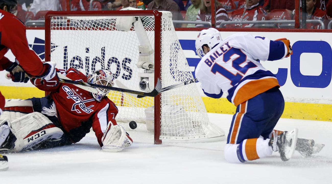 New York Islanders left wing Josh Bailey (12) scores a goal past Washington Capitals goalie Braden Holtby during the second period of Game 1 in a first-round NHL hockey Stanley Cup playoffs series, Wednesday, April 15, 2015, in Washington. (AP Photo/Alex