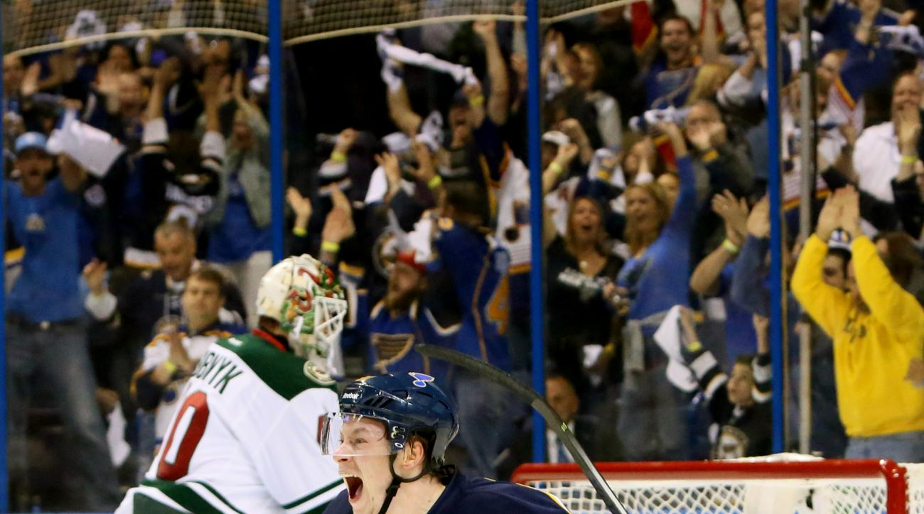 St. Louis Blues right wing Vladimir Tarasenko reacts after scoring his first of two goals in the first period during a first-round hockey playoff game between the St. Louis Blues and the Minnesota Wild on Saturday, April 18, 2015, at the Scottrade Center