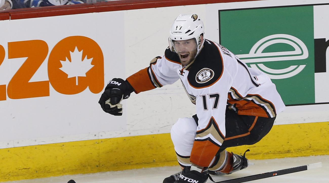 Anaheim Ducks' Ryan Kesler celebrates his goal against the Winnipeg Jets during the third period of Game 4 of a first-round NHL hockey playoff series, Wednesday, April 22, 2015, in Winnipeg, Manitoba. Anaheim won 5-2 and swept the series. (John Woods/The