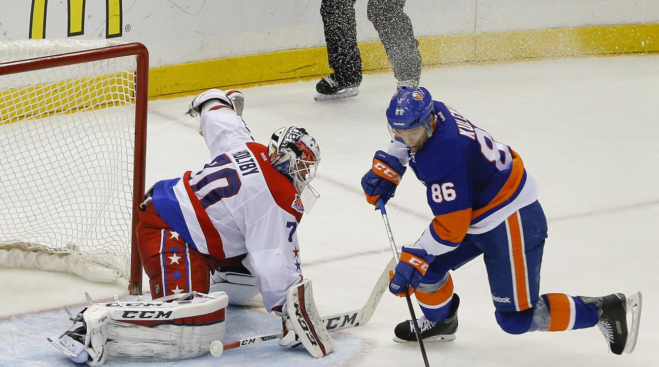 New York Islanders left wing Nikolay Kulemin (86) skates around Washington Capitals goalie Braden Holtby (70) to score the go-ahead goal during the third period in Game 6 in the first round of the NHL hockey Stanley Cup playoffs, Saturday, April 25, 2015,