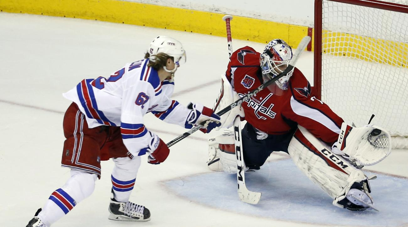 A penalty shot by New York Rangers left wing Carl Hagelin (62), from Sweden, is caught by Washington Capitals goalie Braden Holtby (70) during the third period of Game 4 in the second round of the NHL Stanley Cup hockey playoffs, Wednesday, May 6, 2015, i