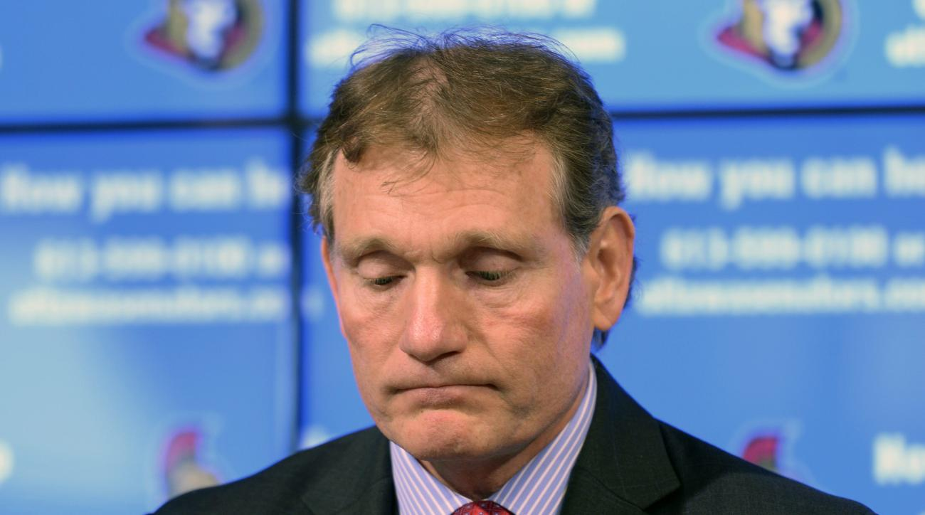 Ottawa Senators team President Cyril Leeder looks down at a news conference in Ottawa, Ontario, Thursday, May 14, 2015. Ottawa Senators owner Eugene Melnyk urgently needs a liver transplant, and the team put out a call Thursday for potential donors. (Adri