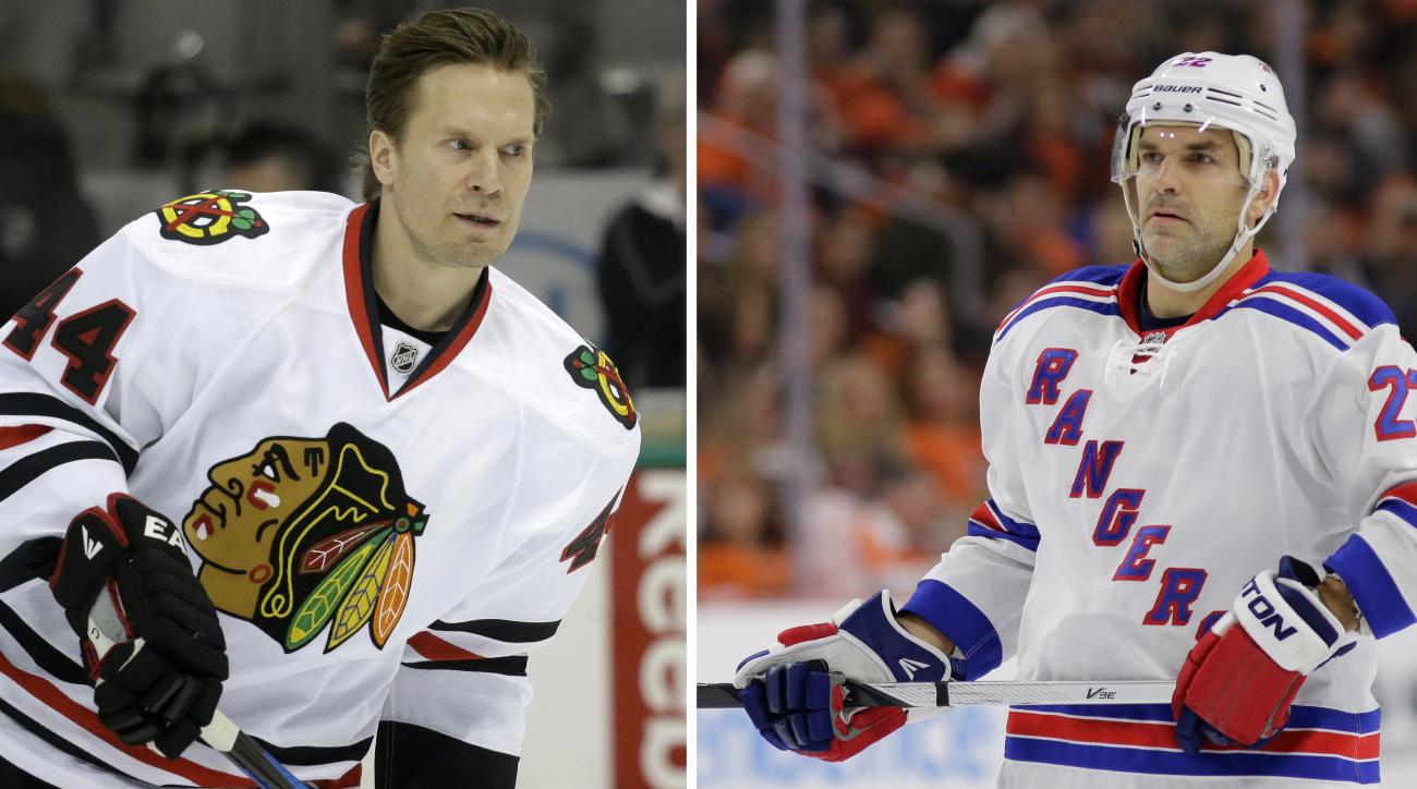 ADVANCE FOR WEEKEND EDITIONS, MAY 15-17 - FILE - At left, in a March 21, 2015, file photo, Chicago Blackhawks defenseman Kimmo Timonen (44) skates  during warms ups before an NHL hockey game  in Dallas. At right, in a Feb. 28, 2015, file photo, New York R