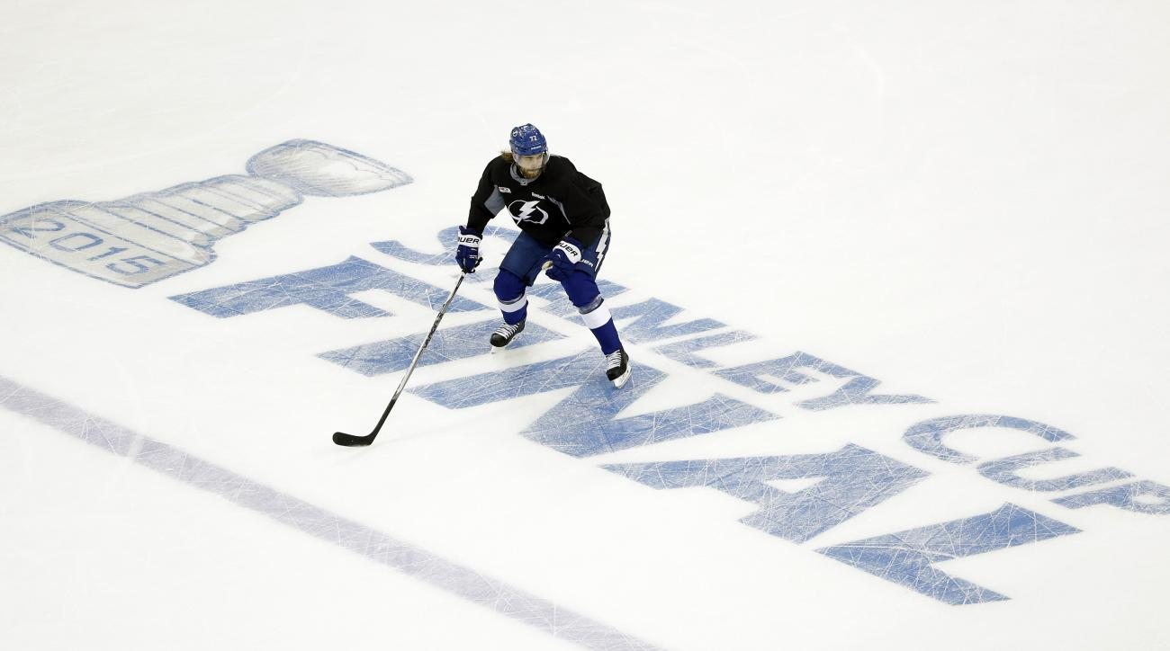 Tampa Bay Lightning defenseman Victor Hedman, of Sweden, skates during practice for the NHL hockey's Stanley Cup finals Monday, June 1, 2015, in Tampa, Fla. The Lightning will take on the Chicago Blackhawks beginning on Wednesday.  (AP Photo/Chris O'Meara