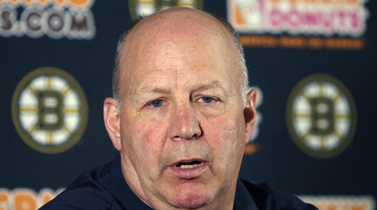Boston Bruins head coach Claude Julien speaks at a news conference at TD Garden Monday, April 13, 2015, in Boston. The Bruins failed to reach the playoffs for the first time in eight years. (AP Photo/Bill Sikes)
