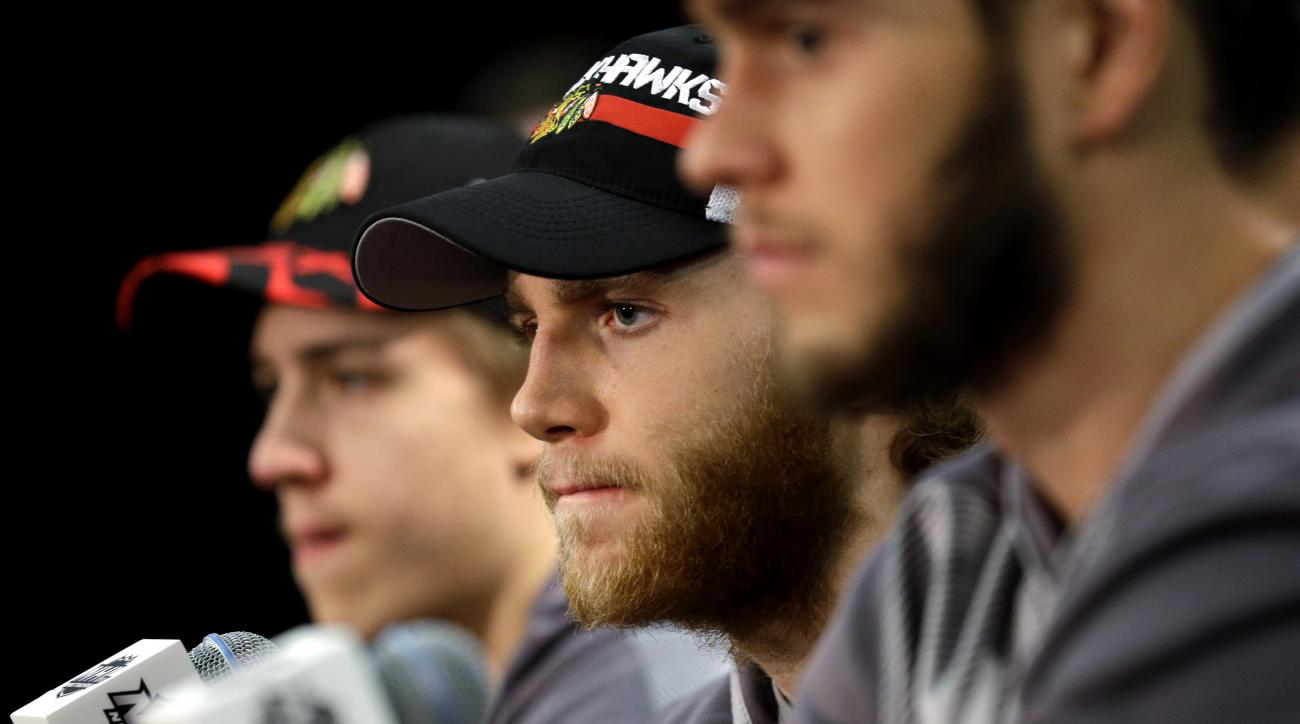 Chicago Blackhawks right wing Patrick Kane listens to a question during a news conference, Sunday, June 7, 2015, in Chicago. The Blackhawks and the Tampa Bay Lightning are tied 1-1 in the NHL hockey Stanley Cup Final after the Tampa Bay Lightning defeated