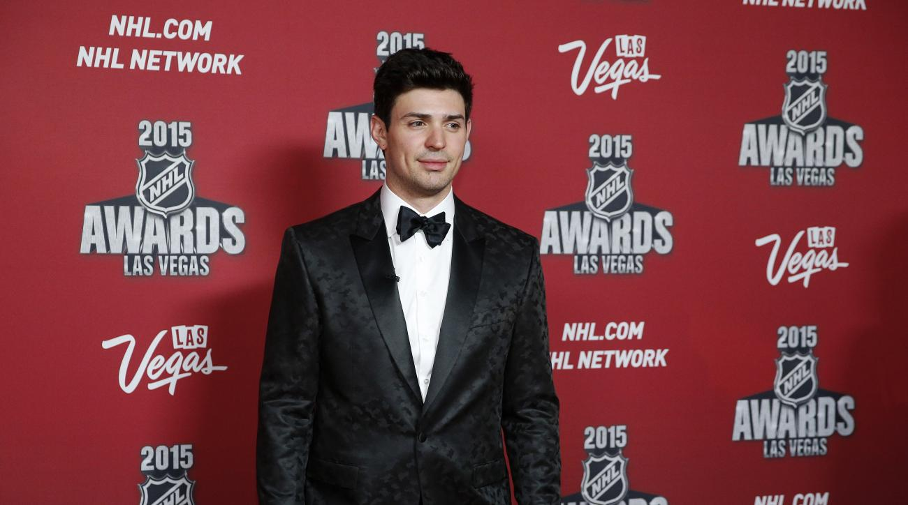 Montreal Canadiens' Carey Price poses on the red carpet before the NHL Awards show Wednesday, June 24, 2015, in Las Vegas. (AP Photo/John Locher)