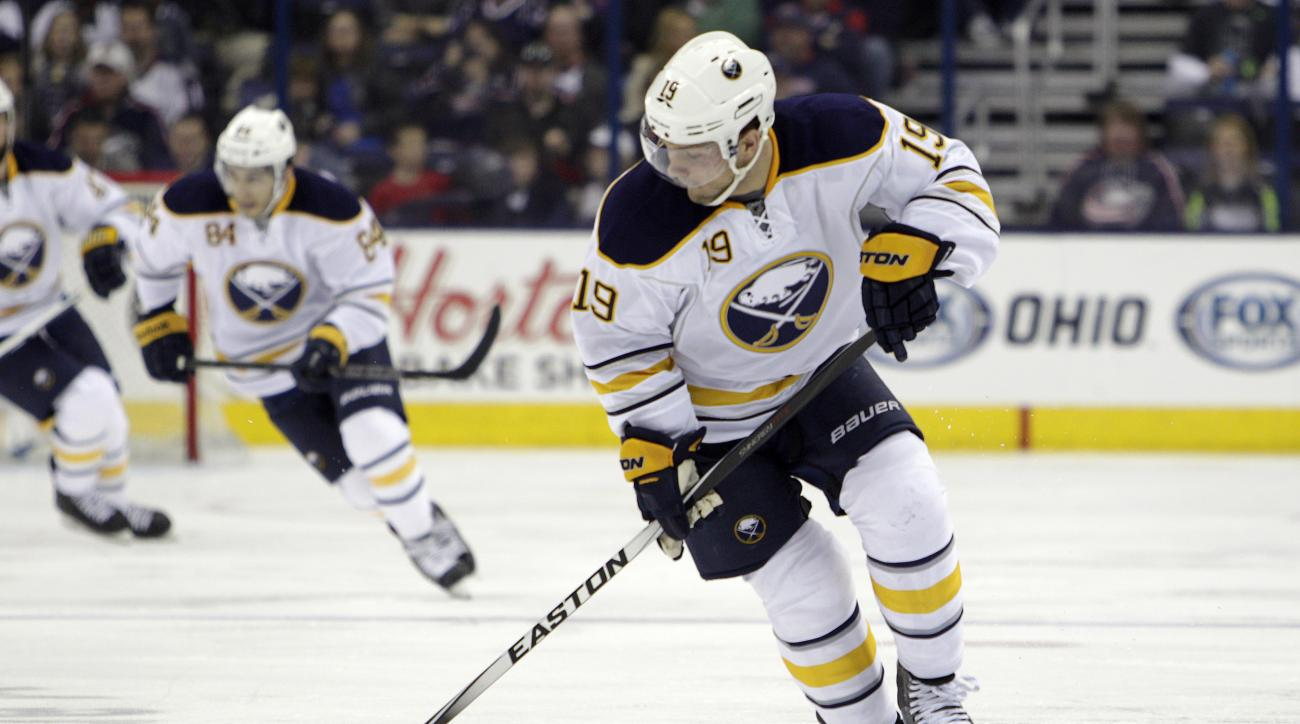 Buffalo Sabres' Cody Hodgson plays against the Columbus Blue Jackets during an NHL hockey game Friday, April 10, 2015, in Columbus, Ohio. (AP Photo/Jay LaPrete)