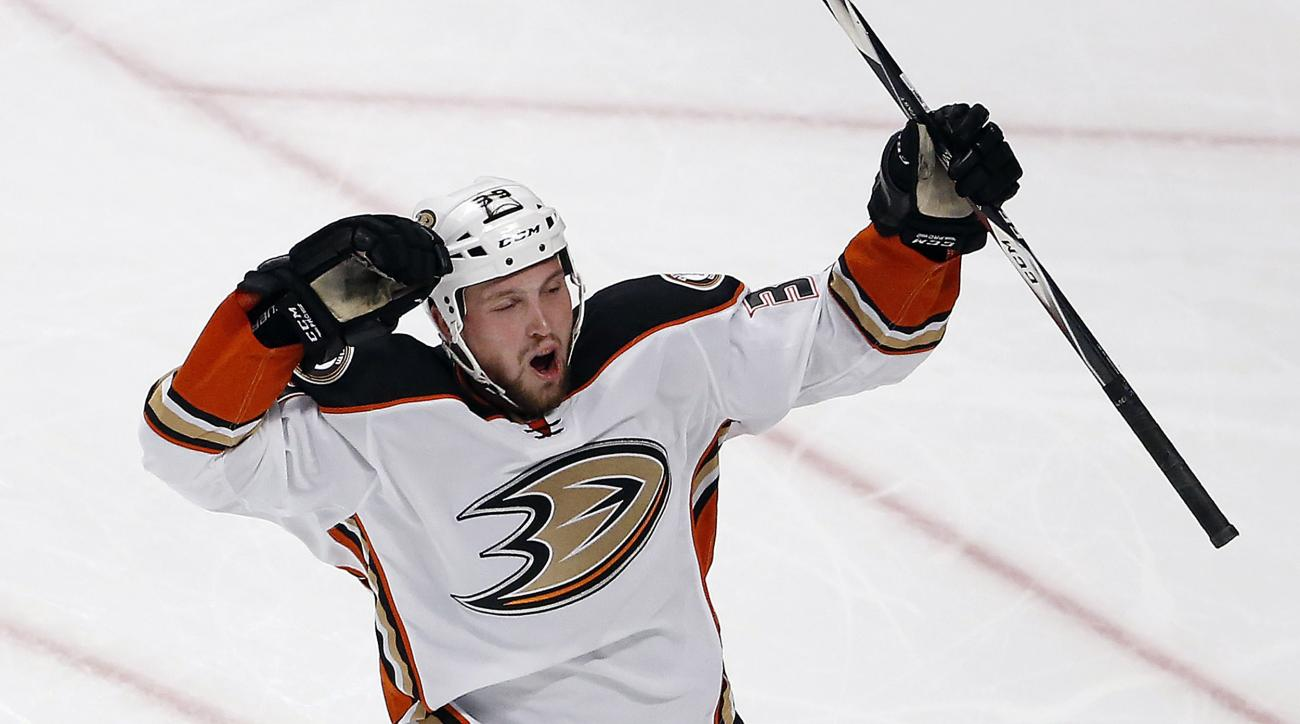 Anaheim Ducks left wing Matt Beleskey celebrates his goal against the Chicago Blackhawks during the third period in Game 4 of the Western Conference finals of the NHL hockey Stanley Cup playoffs, Saturday, May 23, 2015, in Chicago. (AP Photo/Charles Rex A