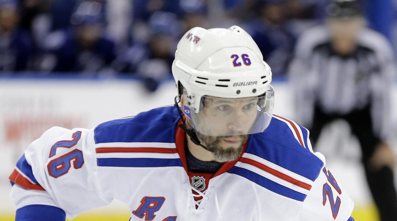 New York Rangers right wing Martin St. Louis (26) during the third period of Game 3 of the Eastern Conference finals during an NHL hockey Stanley Cup playoffs against the Tampa Bay Lightning Wednesday, May 20, 2015, in Tampa, Fla. (AP Photo/Chris O'Meara)