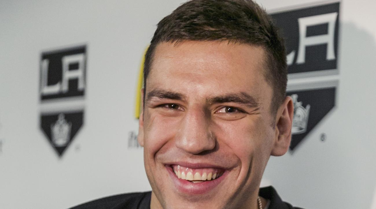 New Los Angeles Kings forward Milan Lucic takes questions from members of the media in El Segundo, Calif., Saturday, July 11, 2015. The Boston Bruins traded Lucic to the Los Angeles Kings on June 26, for defenseman Colin Miller, goalie Martin Jones and th