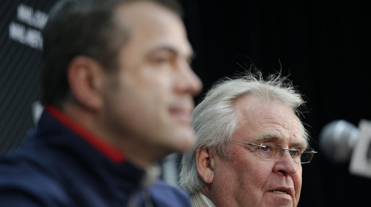 New York Rangers president and general manager Glen Sather, right, speaks as he is joined by head coach Alain Vigneault during a news conference on Tuesday, June 3, 2014, in Los Angeles. The Rangers play the Los Angeles Kings for in Game 1 of NHL Stanley