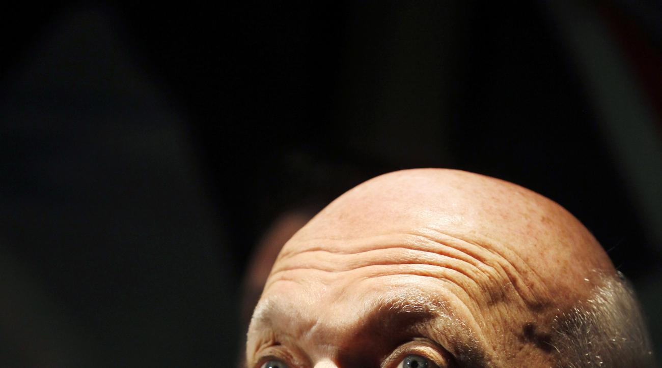 Lou Lamoriello listens to a question Saturday, May 9, 2015, in Newark, N.J. Lamoriello has handed the reins as general manager of the Devils to Ray Shero. Lamoriello, 72, has been the Devils' general manager since the 1987-88 season, winning three Stanl