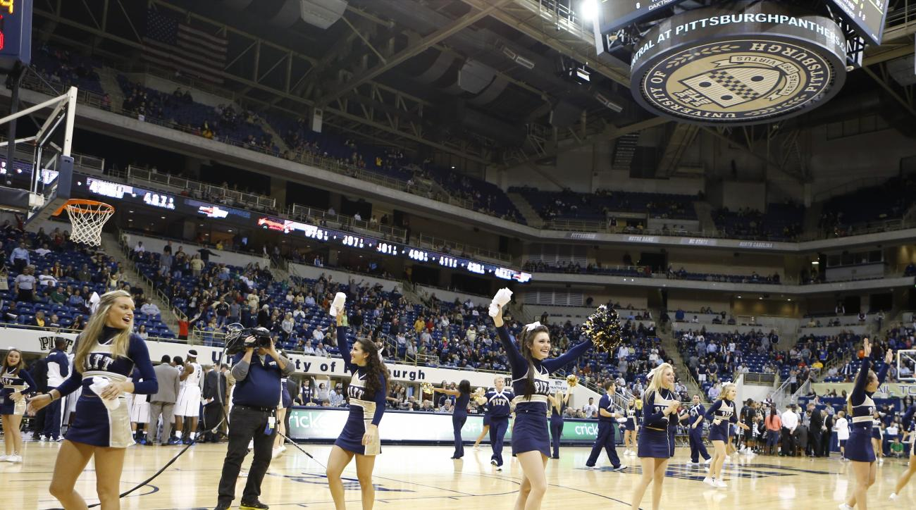 University of Pittsburgh cheerleaders perform during the NCAA exhibition college basketball game at the Petersen Events Center between Pittsburgh and Slippery Rock on Friday, Nov. 1, 2013, in Pittsburgh. (AP Photo/Keith Srakocic)