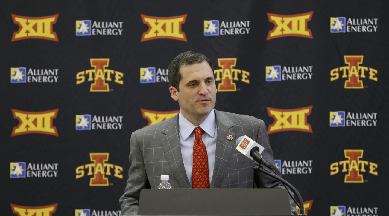 Iowa State's new men's basketball coach Steve Prohm speaks during a news conference, Tuesday, June 9, 2015, in Ames, Iowa. Prohm, who last coached at Murray State, replaces Fred Hoiberg who left last week to become the head coach of the Chicago Bulls. (AP