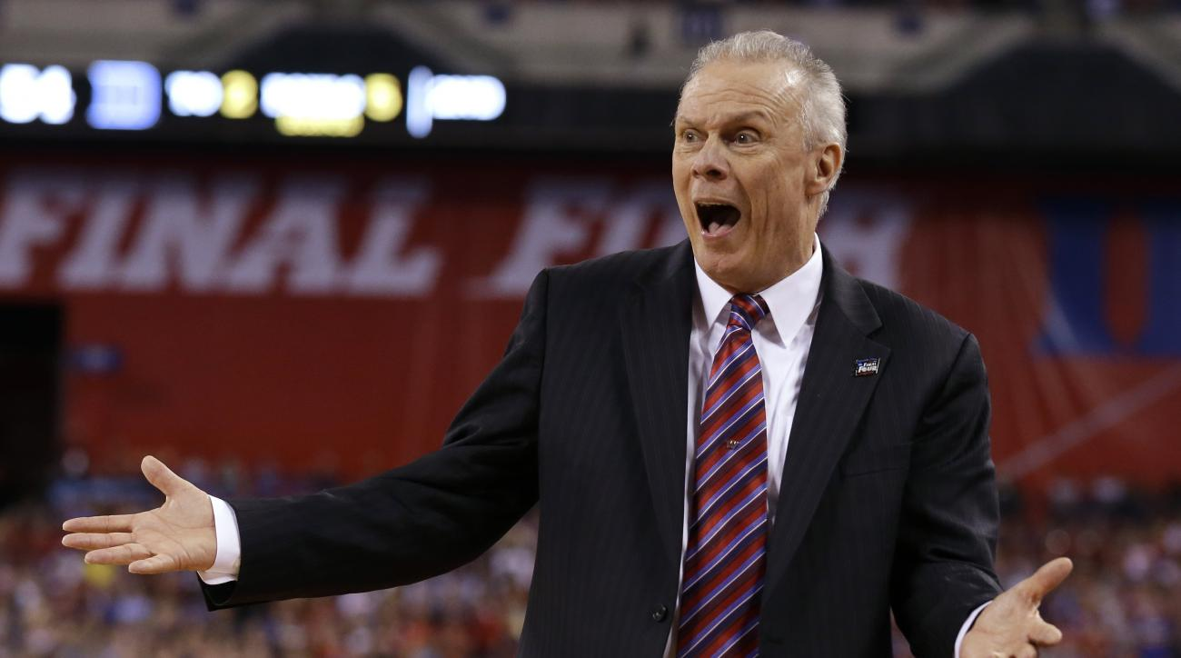 Wisconsin head coach Bo Ryan reacts to a call during the second half of the NCAA Final Four college basketball tournament championship game against Duke Monday, April 6, 2015, in Indianapolis. (AP Photo/Michael Conroy)