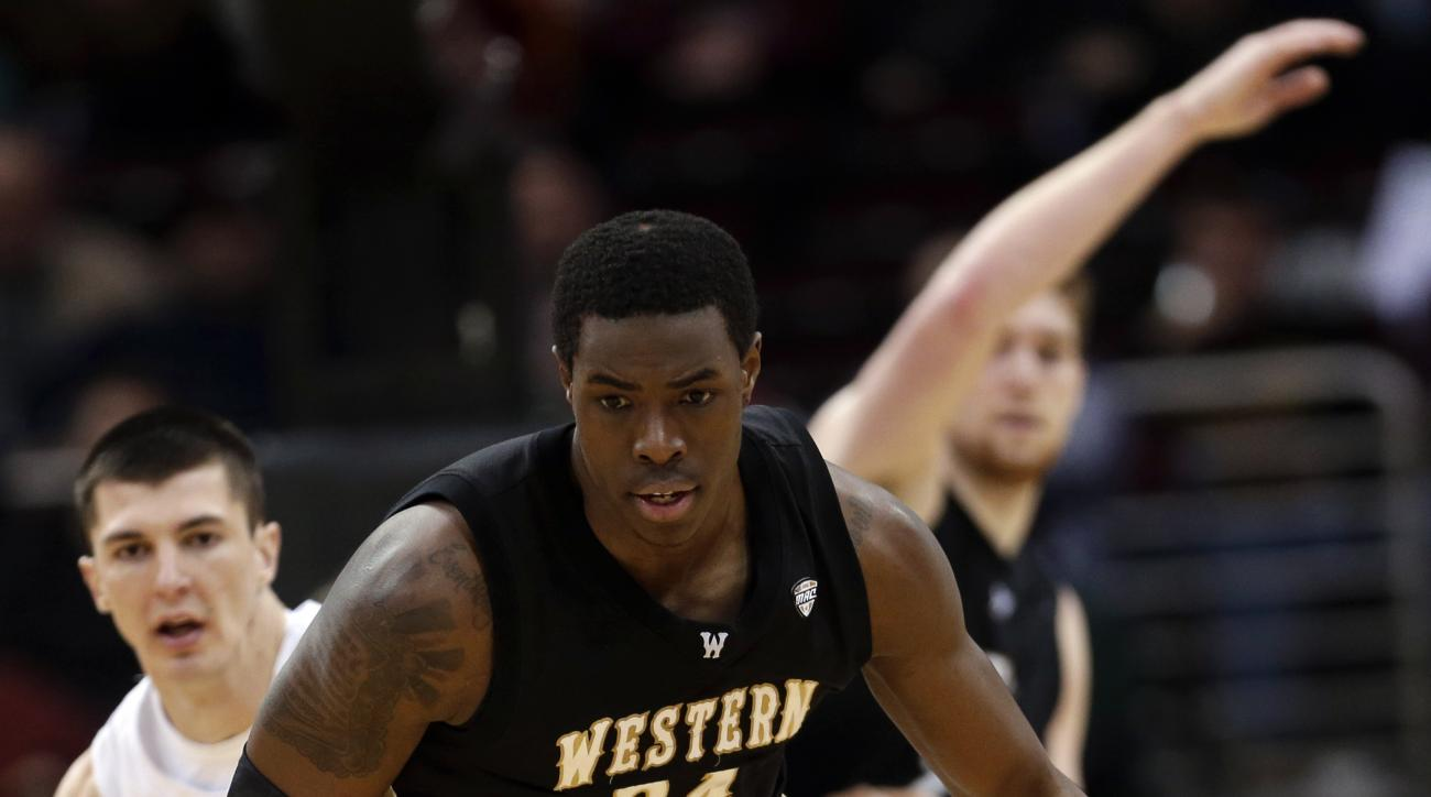 Western Michigan's Darius Paul during the second half of an NCAA college basketball game in the semifinals of the Mid-American Conference tournament  Friday, March 15, 2013, in Cleveland. (AP Photo/Tony Dejak)