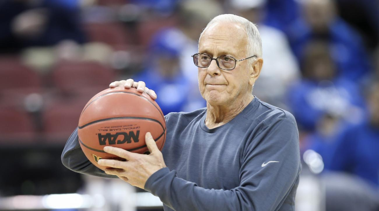 In this March 18, 2015 file photo, SMU coach Larry Brown watches his team during practice at the NCAA college basketball tournament in Louisville, Ky. The NCAA banned the SMU men's basketball team from postseason play Tuesday, Sept. 29, 2015,  and suspend