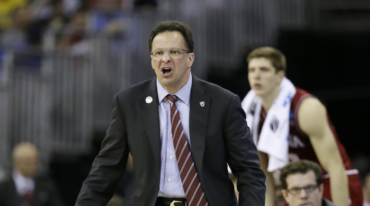FILE - In this March 20, 2015, file photo, Indiana head coach Tom Crean reacts on the bench during the second half of an NCAA tournament college basketball game against Wichita State in the Round of 64 in Omaha, Neb.Crean is ready to get back on the court