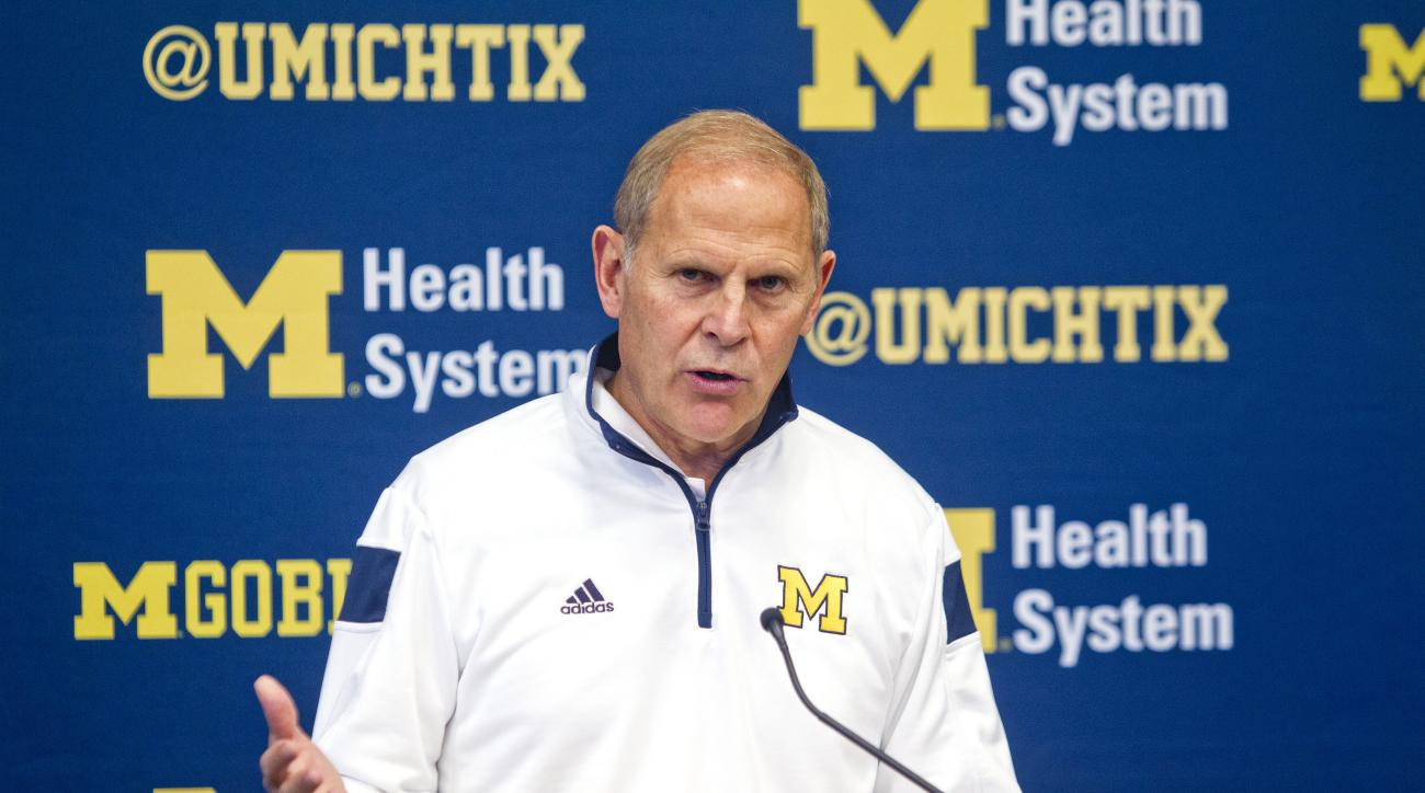 Michigan head coach John Beilein speaks at a press conference before a practice session at Crisler Center in Ann Arbor, Mich., Friday, Oct. 2, 2015. Today is the first day the NCAA college basketball team practiced together as a team for the season. (AP P