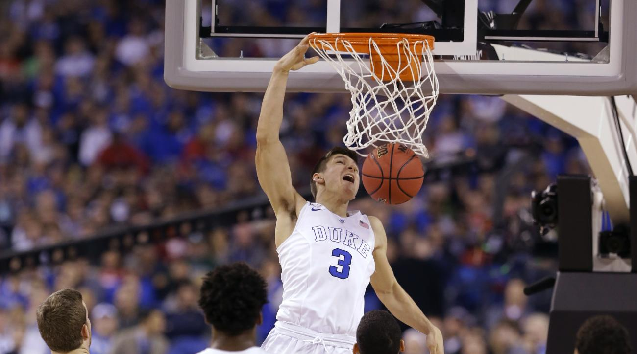 FILE - In this April 4, 2015, file photo, Duke's Grayson Allen (3) dunks the ball during the second half of the NCAA Final Four tournament college basketball semifinal game against Michigan State, in Indianapolis. As the hero of Duke's latest national cha