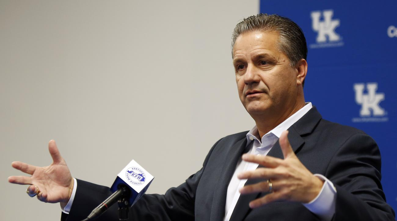 Kentucky men's NCAA college basketball head coach John Calipari speaks to the media during the teams Media Day on campus Wednesday, Oct. 14, 2015, in Lexington, Ky. (AP Photo/James Crisp)
