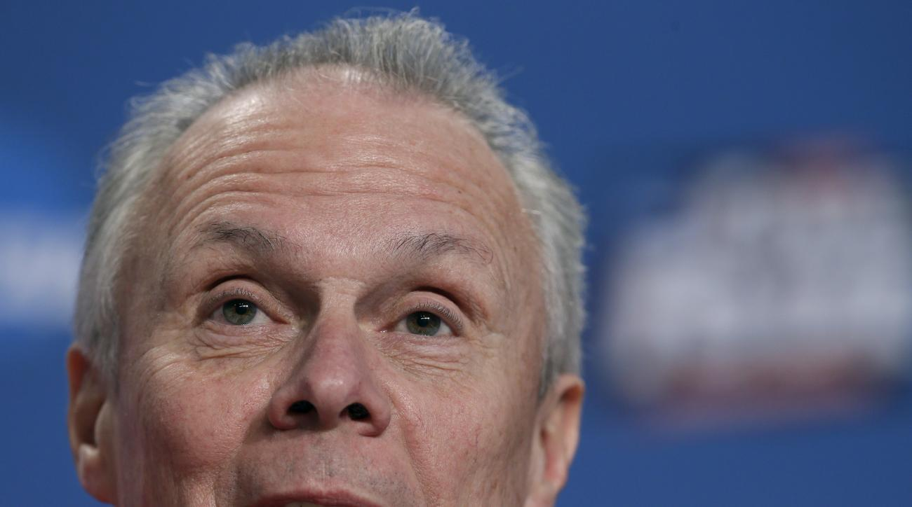 Wisconsin head coach Bo Ryan talks during a news conference for the NCAA Final Four college basketball tournament championship game Sunday, April 5, 2015, in Indianapolis. (AP Photo/Charlie Neibergall)